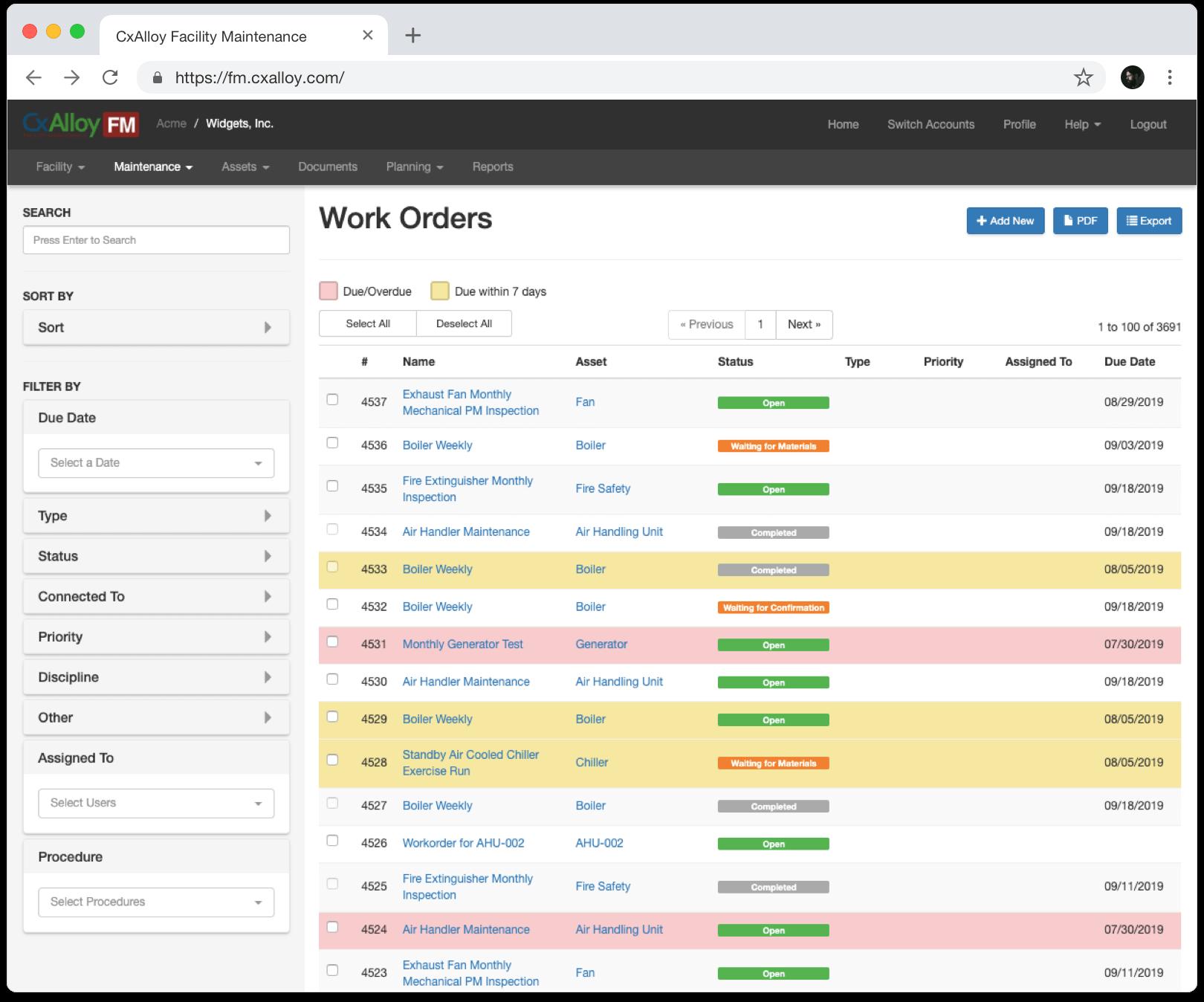 work order screen